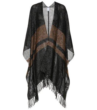 Striped linen-blend cape