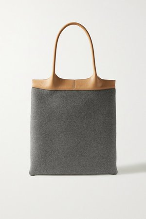 Leather-trimmed Cashmere Tote - Gray