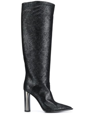 Casadei Glitter Pointed Toe knee-high Boots - Farfetch