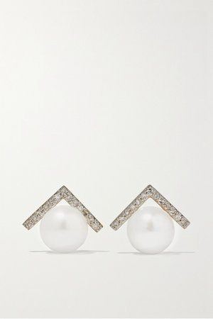 Gold 14-karat gold, diamond and pearl earrings | Mateo | NET-A-PORTER