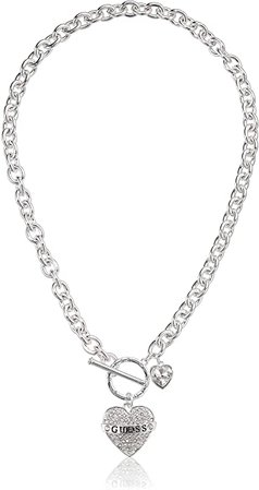 Amazon.com: GUESS Women's Toggle Logo Charm Necklace, Silver, One Size: Jewelry