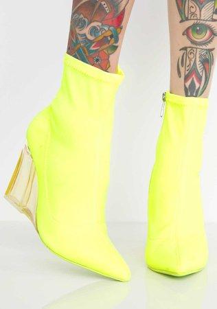 Neon Clear Wedge Booties | Dolls Kill