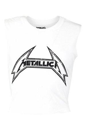 Metallica Licenced Cropped Tank Vest | Boohoo