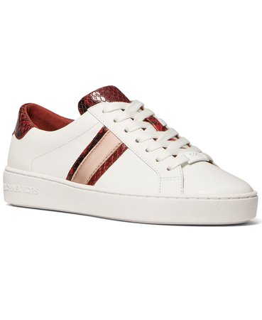 White Michael Kors Irving Side-Striped Lace-Up Sneakers & Reviews - Athletic Shoes & Sneakers - Shoes - Macy's