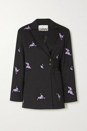 Black Belted embroidered wool blazer   GANNI   NET-A-PORTER