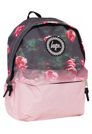 Pink and Black Backpack With Pink Roses