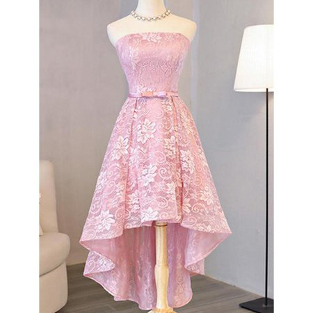 Customized Princess Homecoming Prom Dresses Short Pink Dresses With Lace Up Bowknot High-Low Appeali on Luulla