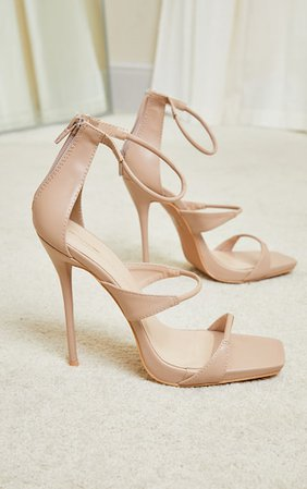 Beige Square Toe Triple Strap High Heel Sandals | PrettyLittleThing