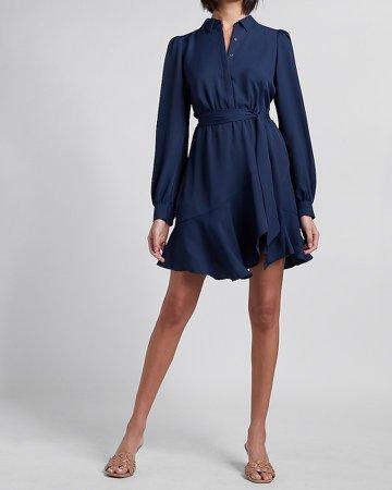 Belted Puff Sleeve Shirt Dress