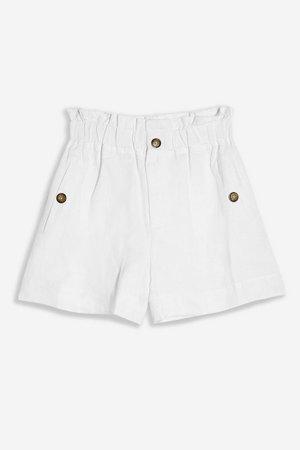 White Linen Blend Paperbag Shorts   Topshop