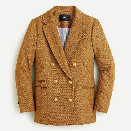 J.Crew: Double-breasted Blazer In Gold Herringbone Wool For Women brown