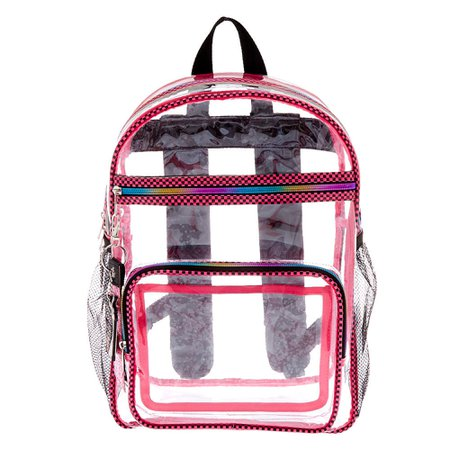 Checkered Trim Backpack - Clear | Claire's