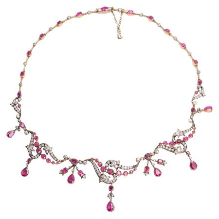 Antique Victorian Ruby Diamond Rococo Revival Necklace For Sale at 1stdibs