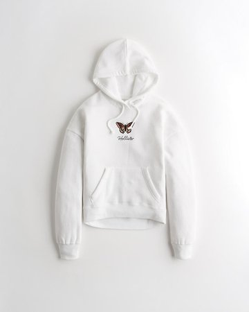 Girls Embroidered Hoodie | Girls New Arrivals | HollisterCo.com white