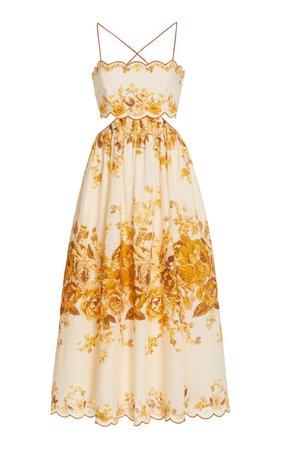 Aliane Cutout Linen Midi Dress By Zimmermann | Moda Operandi