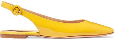 Patent-leather Slingback Flats - Yellow