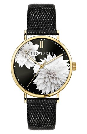Ted Baker London Phylipa Peonia Leather Strap Watch, 37mm | Nordstrom