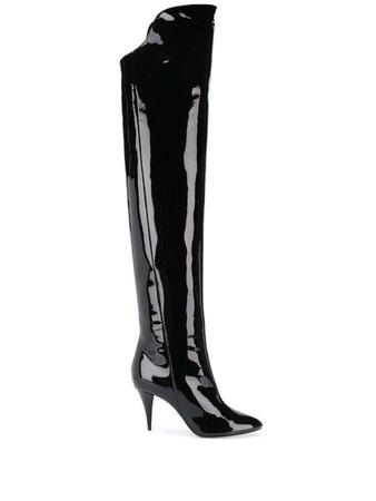 Saint Laurent over-the-knee Patent Boots - Farfetch