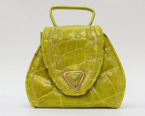 80s Neon Green Sharif Handbag Vintage 1980s Leather Cross | Etsy