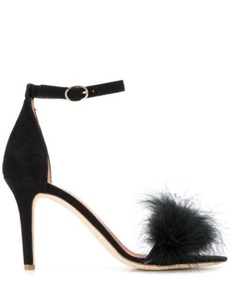 Via Roma 15 Feather Detail Sandals 3043 Black | Farfetch