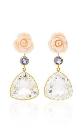 18k Gold Pink Coral Flower, Lolite, Rock Crystal Earrings By Bahina | Moda Operandi