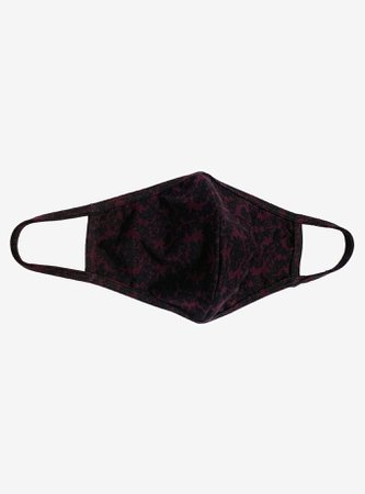 Black & Purple Damask Print Fashion Face Mask