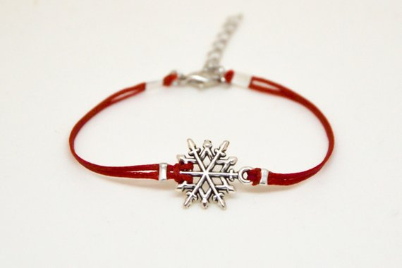 Valentines gift, Snowflake bracelet, women bracelet, silver snow flake charm, charm bracelet, red cord, gift for her, gift exchange, dainty