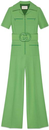 Gucci Green Wool Silk Belted Jumpsuit