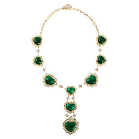 Certified Swiss Lab Colombian Emerald Yellow Gold Diamond Necklace Stambolian For Sale at 1stDibs