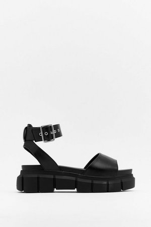 Get Your Groove On Faux Leather Platform Sandals | Nasty Gal
