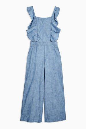 Ruffle Jumpsuit | Topshop blue