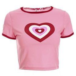 Pink 90s Heart Crop Top Belly Shirt Valentine Kawaii | DDLG Playground