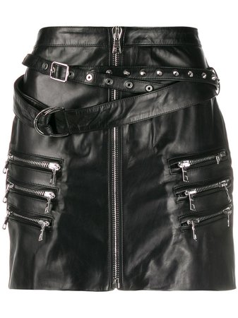 Black UNRAVEL PROJECT buckled mini skirt - Farfetch