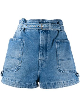 Isabel Marant Paperbag Waist Denim Shorts Ss20 | Farfetch.com