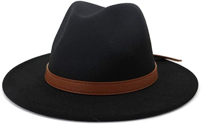 Lisianthus Women Vintage Wide Brim Fedora Hat (Brown Belt-Black, M; Hat Circumference: 56-58cm; for Women) at Amazon Women's Clothing store
