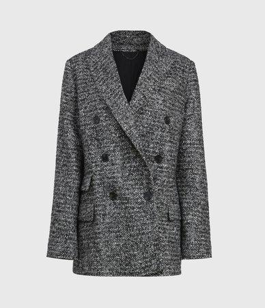 ALLSAINTS UK: Womens Parker Wool Blend Blazer (black_white)