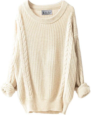 Liny Xin Women's Cashmere Oversized Loose Knitted Crew Neck Long Sleeve Winter Warm Wool Pullover Long Sweater Dresses Tops (Beige) at Amazon Women's Clothing store: