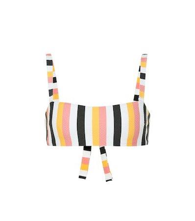 Wrap Bandeau striped bikini top