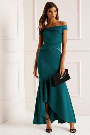 Buy Lipsy Satin Panel Bardot Fishtail Maxi Dress from the Next UK online shop