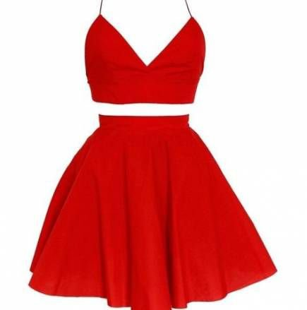 Red Two-Piece Crop Top & Skater Skirt