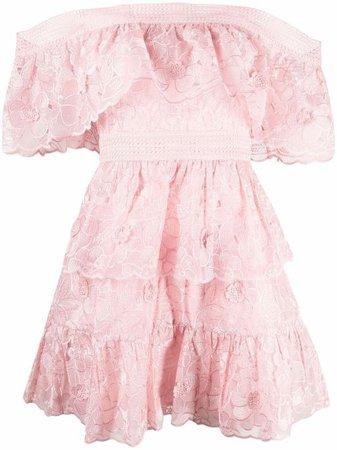 Self-Portrait Floral Lace Mini Dress - Farfetch