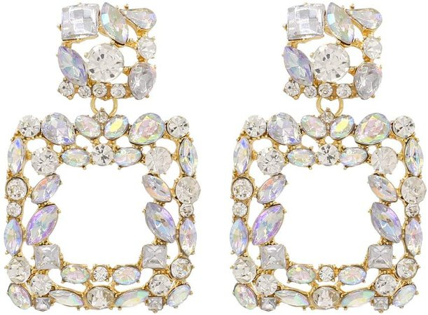 Amazon.com: Rhinestone Square Dangle Earrings Sparkly Crystal Geometric Drop Statement Earrings for Women KELMALL COLLECTION: Jewelry