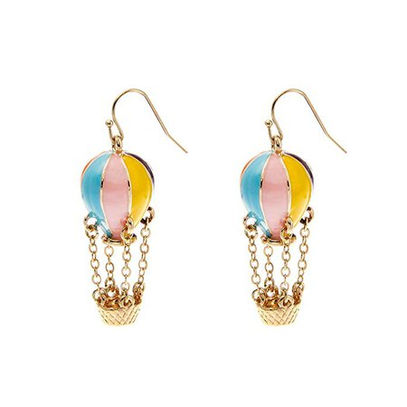 Amazon.com: Lureme Colorful Enamel Hot Air Balloon Chained Basket Gold Tone French Hook Dangle Earrings 2002344-1: Stud Earrings: Jewelry