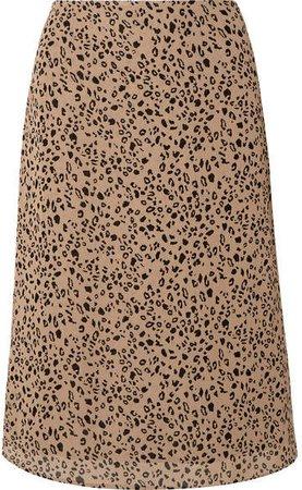 Mia Leopard-print Georgette Midi Skirt - Leopard print