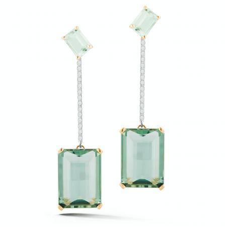 14kt Gold Mint Green Earring – MATEO