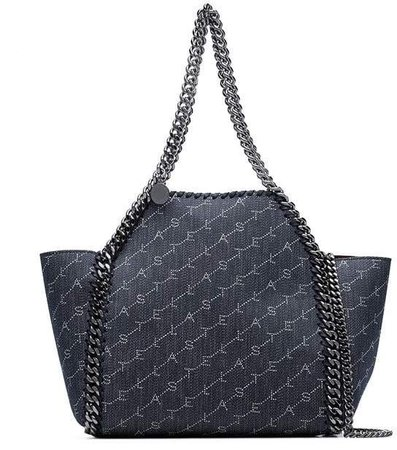 denim blue Falabella mini chain trim denim tote bag