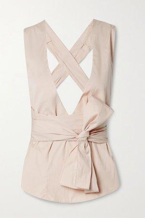Beige Cotton-poplin wrap top | Alaïa | NET-A-PORTER