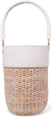 Lucie Leather And Straw Tote - White