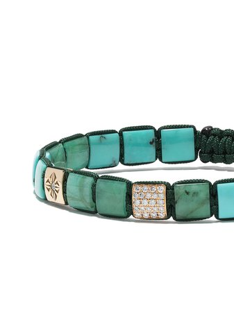 Shamballa Jewels 18Kt Yellow Gold, Diamond And Turquoise Lock Beaded Bracelet Continuity | Farfetch.com