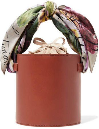 Isla Printed Satin-trimmed Leather And Linen Tote - Tan